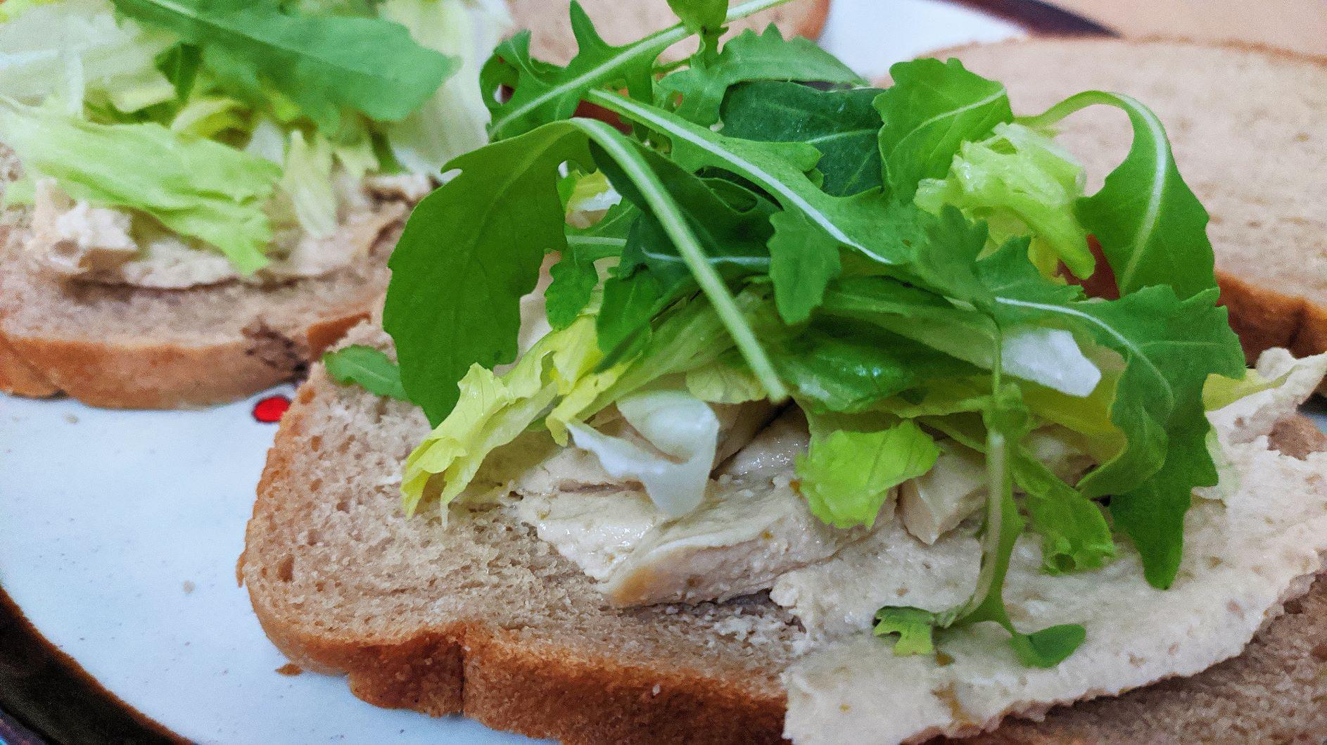 Biljna pašteta od maslina i soje s rukolom i iceberg salatom
