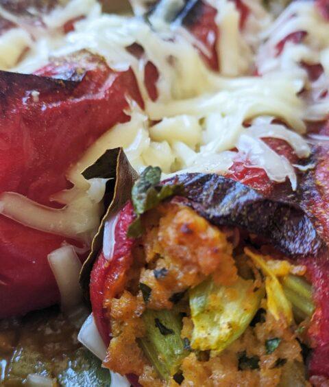 Pečene roge punjene sojinim ljuskicama i povrćem